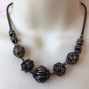 Vintage sterling silver Bali ball bead necklace